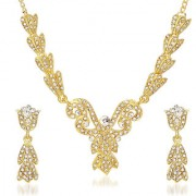 Kriaa by JewelMaze Zinc Alloy Gold Plated White Austrian Stone Necklace Set-AAA0722
