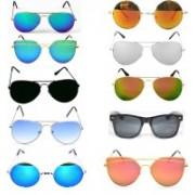 CocksComb Wayfarer, Round, Cat-eye, Wrap-around, Clubmaster, Aviator Sunglasses(Red, Black, Blue, Orange, Multicolor, Silver, Black)