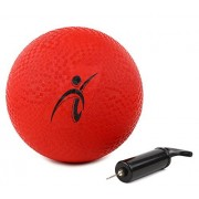 10 Inch Red Rubber Playground Ball - with Air Pump for Inflatable Balls - Official Size Kickball & Medium to Large Kids Dodgeball & Foursquare Ball