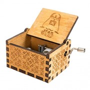 SeMius Hand Shake Music Box Retro-Style Wooden Hand-Carved Square Musical Boxes & Figurines (Yellow2)