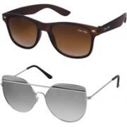 Silver Kartz Wayfarer, Aviator Sunglasses(Brown, Silver)