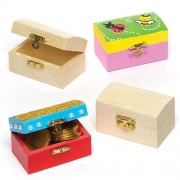 Small Treasure Chests - 4 Mini Wooden Boxes with metal hinge & clasp. Size 8cm x 5cm