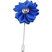 Sullery Men's Rhinestone Crystal Blue Flower Lapel Pin Boutonniere For Men Women