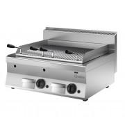 Lavasteengrill Gas RVS - Tafelmodel - met Grillplaat - 80x65x(h)29.5cm - 14KW