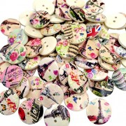Generic 50pcs Colorful Vintage Eiffel Tower Wooden Buttons Embellishment Craft DIY 20mm