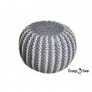 Pletený puf CRAZYSHOP TWIN, šedo-bílá (ručně pletený)