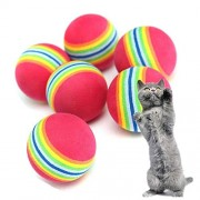 Gootrades Pet Cat Soft Foam Rainbow Play Balls Activity Toys Pack of 10