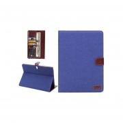 Denim Textura Del Ecocuero Del Tirón Horizontal Con Ranura Para Tarjeta Y Monedero Y Soporte Para Samsung Galaxy Tab 10.5 S T800 (azul )
