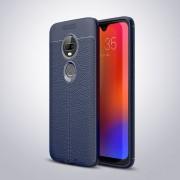 Litchi Texture TPU caso para Motorola Moto G7 antichoque (azul marino)