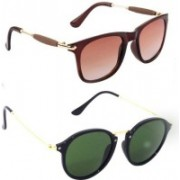 SRPM Cat-eye, Wayfarer Sunglasses(Green, Brown)