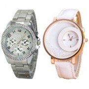 Paidu Silver And Mxre White Analog Fancy Couple Watches For Men And Women