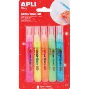 Lipici cu sclipici Apli, culori fluorescente, 5 culori/set