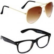 Aligatorr Wayfarer, Aviator Sunglasses(Clear, Brown)