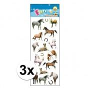Merkloos 3x Stickersetje pony