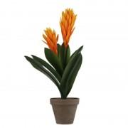Shoppartners Oranje Bromelia kunstplant 45 cm in grijze pot