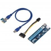 EW PCIE 1X a 16X 6pin Cable Adaptador tarjeta Riser Extensor de 0,3 m/0,6 m