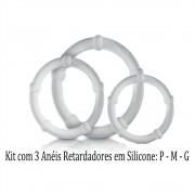 Kit Com 03 Anéis Penianos Em Silicone Sexy Fantasy