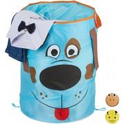 relaxdays wasmand pop up - opbergmand kinderen - speelgoedmand - mand - opvouwbaar - dier Hond