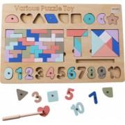 Joc Montessori 5 in 1 cu tangram tetris si piese magnetice din lemn - Krista and reg