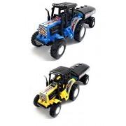 Combo Toys of 2 Set of Tractor with Tanker | Toy for Kids | Show Piece | Miniature/Model Tractor |Pull Back and Go | Blue and Yellow Color| Set of 2 Tractors - Value Pack
