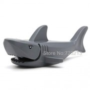 Generic Grey Great White Shark Animal Model Legoingly Moc Set Building Blocks kit Brick Educational Toys PG1255 PG1256 Grey