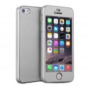Husa Full Cover 360 + folie sticla iPhone SE / 5 / 5S, Silver