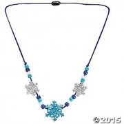 Beaded Glitter Foam Snowflake Necklace Craft Activity Kit for Kids-Jewelry Crafts-makes 12