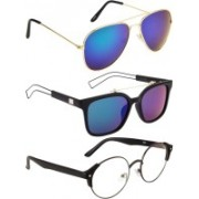 NuVew Aviator, Round, Wayfarer Sunglasses(Blue, Clear, Green)