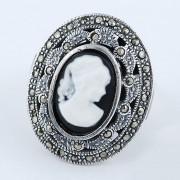 Inel Din Argint 925 Decorat Cu Marcasite Si Camee