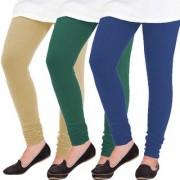 Woolen Leggings for Women Winter Bottom Wear Combo Pack of 3 Beige Dark Green and Navy Blue - Free Size