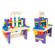 Hey! Play! Kids Pretend Play Wood Workbench and Tool Set Multi-color