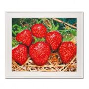 Thomas Baumgärtel – o. T. Erdbeeren, Galerierahmung mit schwarzem Rahmen