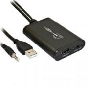Конвертор, от USB A(м), 3.5мм аудио жак(м) към HDMI(ж), 3.5мм аудио жак(ж)до 2018 x 1152 резолюция