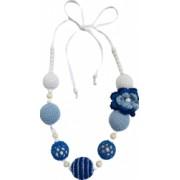 Colier Unicat Handmade din bile de lemn crosetate in nuante de albastru si alb