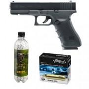 Set pistol airsoft 2 jouli + 10 capsule CO2 + flacon 2700 buc bile 0.30 g Umarex Glock 22 Gen4 calibru 6 mm