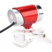 USB 2.0 HD Webcam / Cámara Para Internet De Alta Definición De 50 Megapixel Con Micrófono Y LED De Visión Nocturna. Clip-on .360 Grados (Rojo)