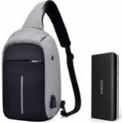 Baterie externa Romoss Solo 5 10000 mAh negru+mini-Rucsac antifurt gri cu port USB extern incarcare telefon