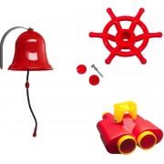 Pakket rood 2, met een verrekijker, een bootstuur en een bel