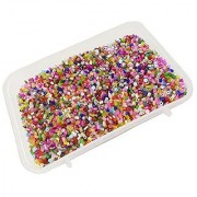eshoppee 100 gm multi color imported glass cut seed beads art and craft DIY kit for jewllery making (multi)