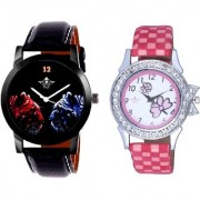 Jaguar Face Dial With Flowers Pink Art Couple Analoge Wrist Watch By Ganesha Exim