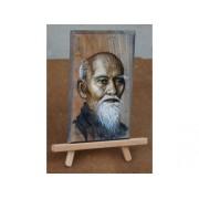 Morihei ueshiba pictura in ulei pe lemn