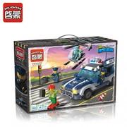 ENLIGHTEN 394pcs Building Blocks Kits City Police-Car Block Helicopter Road Pursuit Model Building Bricks Toys Kids Gifts (1117 )