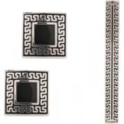 Tripin Brass Cufflink & Tie Pin Set(Silver)
