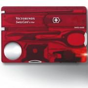 VICTORINOX | Karta SwissCard LITE ČERVENÁ transparentní