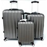 Max P8803bs kufr skořepinový cestovní ABS set 3ks černo stříbrný