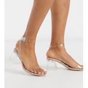Public Desire Wide Fit Afternoon clear block heeled sandal in beige patent - female - Beige - Size: 3