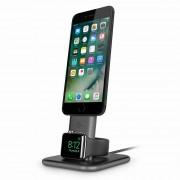TwelveSouth HiRise Duet - алуминиева повдигаща поставка за iPhone и iPad с Lightning и Apple Watch (черна)