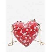Zaful Sac à bandoulière en forme de coeur à motif fleuri Rouge
