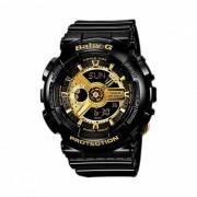 reloj digital analogico para mujer casio baby-g BA-110-1A y correa de resina negra-negro + dorado