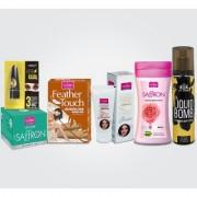 Women Gift Set(HR Sandal Saffron Night Fairness Cream Body Lotion Rose Liquid Foundation Deo Gold Edition Code Kajal